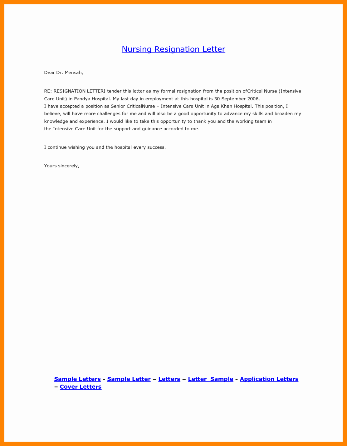 Nursing Resignation Letter Template Beautiful 8 Registered Nurse Resignation Letter Sample