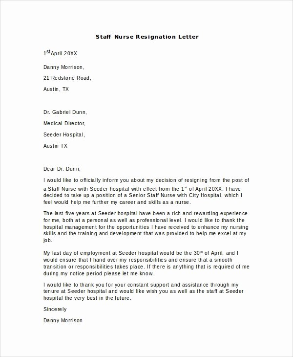 Nursing Resignation Letter Template Inspirational 11 Sample Nursing Resignation Letters Pdf Word