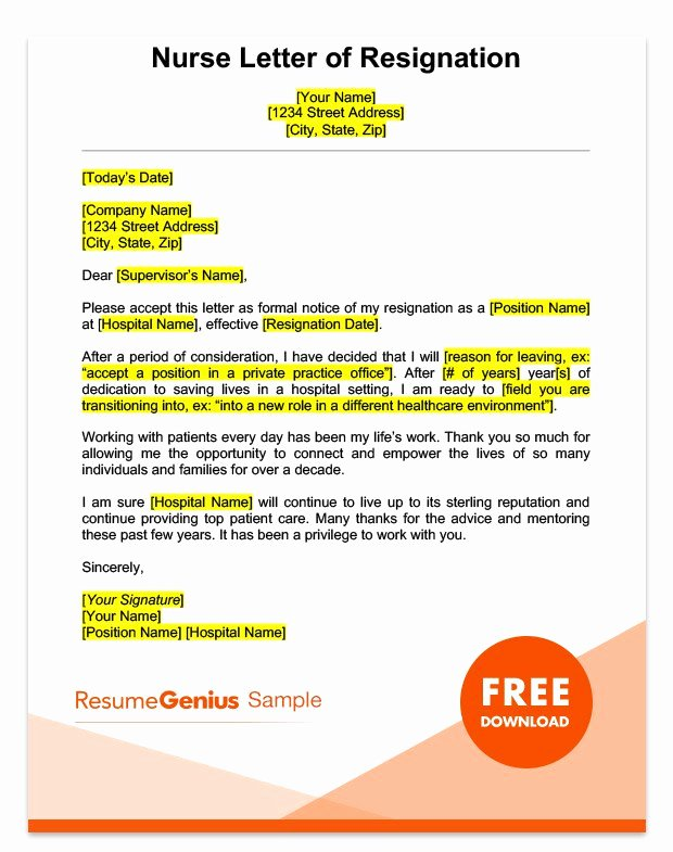 Nursing Resignation Letter Template Unique Career Specific Resignation Letters