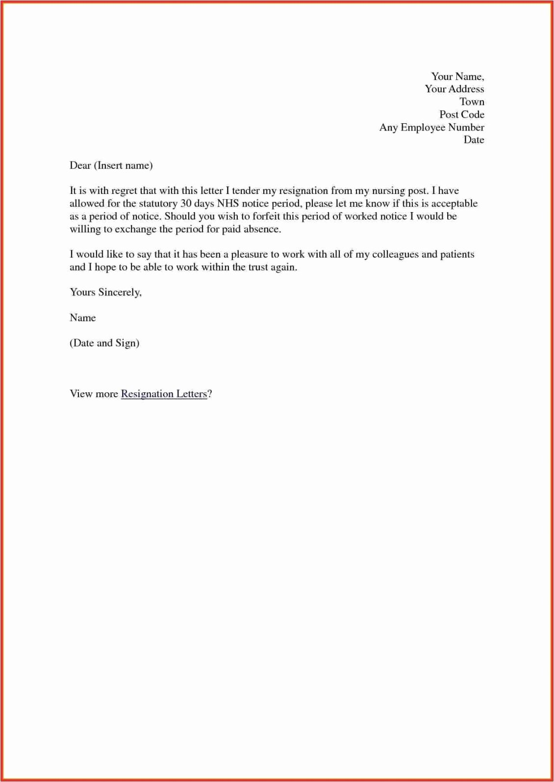 Nursing Resignation Letter Template Unique Nursing Resignation Letter Template