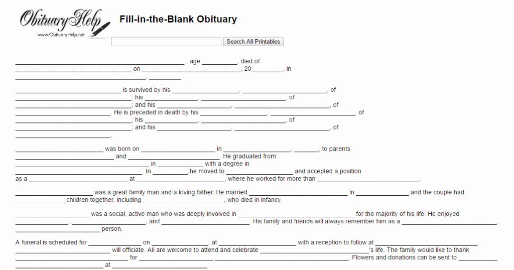 Obituary Template for Microsoft Word Beautiful 17 Obituary Template Samples