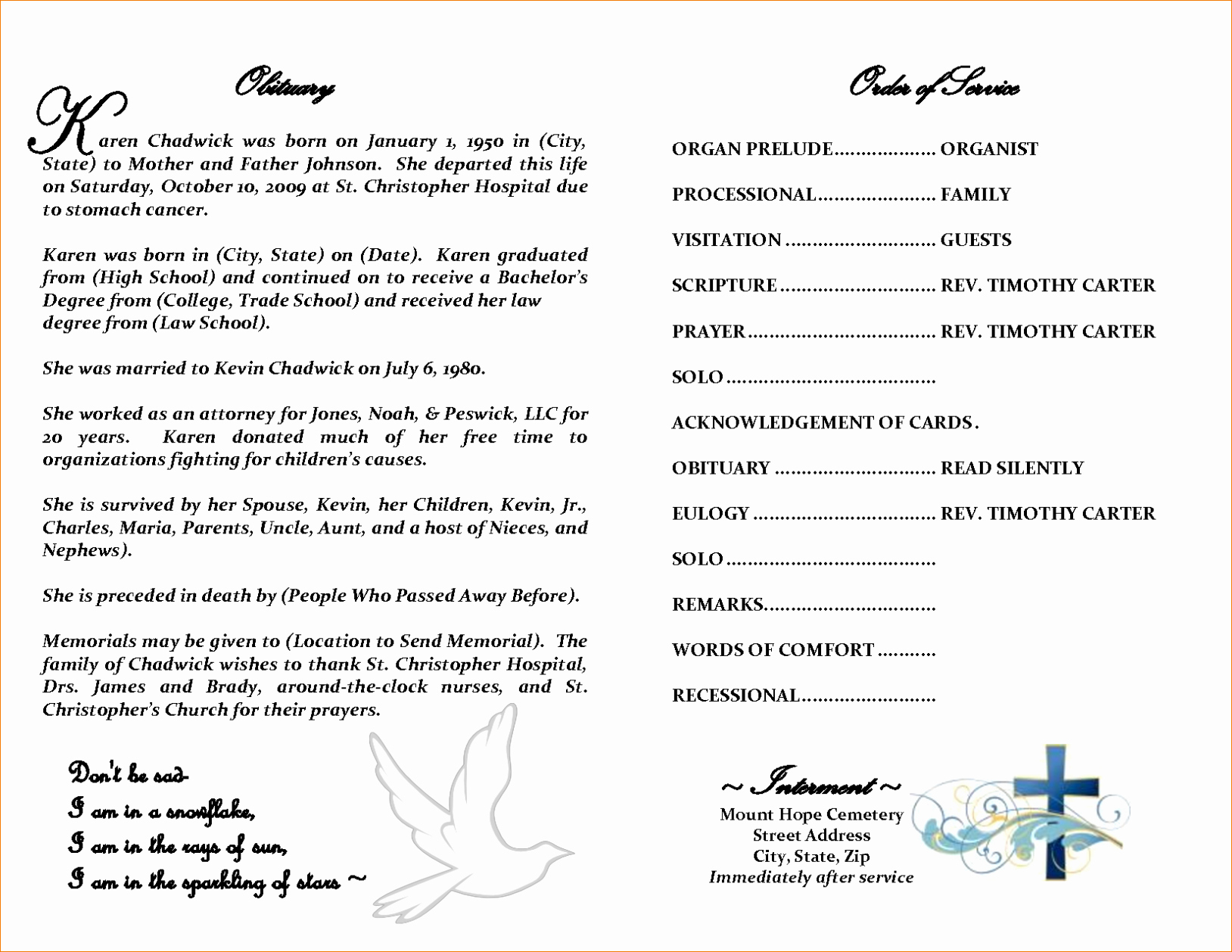 Obituary Template for Microsoft Word Beautiful Free Editable Obituary Templates Word Pdf Daily Roabox