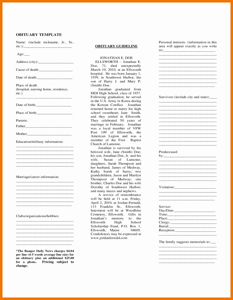 Obituary Template for Microsoft Word Elegant Free Obituary Template