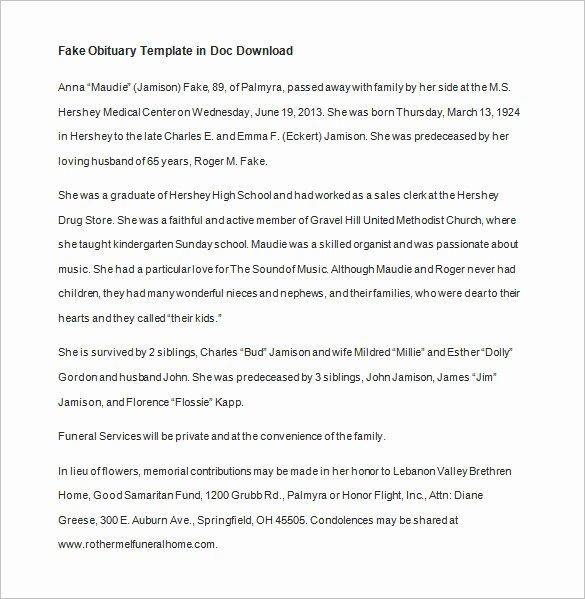 Obituary Template for Microsoft Word Inspirational Free Obituary Template
