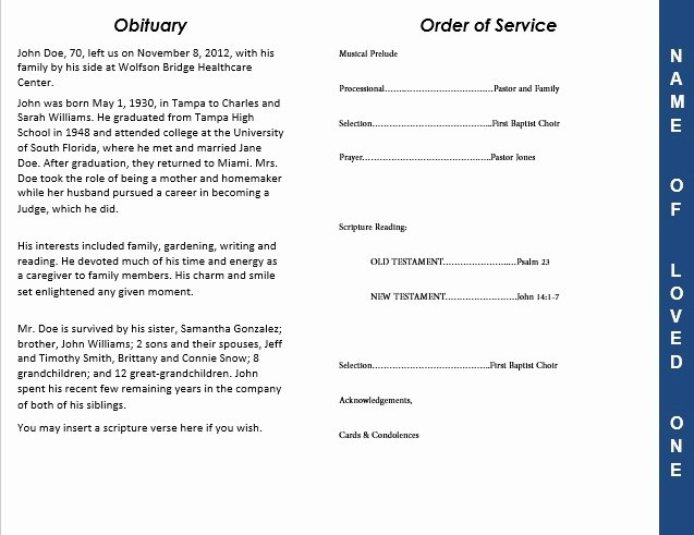 Obituary Template for Microsoft Word Lovely 2 Page Graduated Outdoor 3 Program Funeral Pamphlets