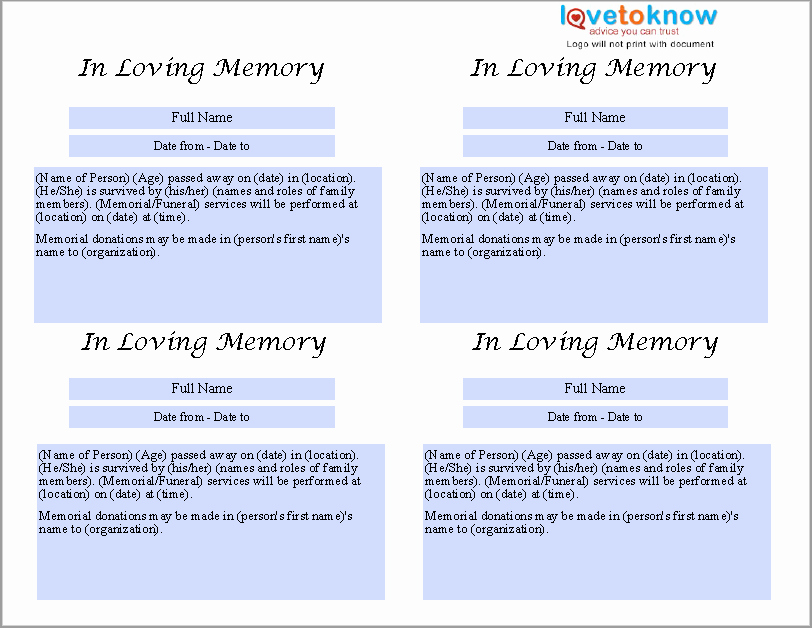 Obituary Template for Microsoft Word Lovely 21 Free Obituary Templates Samples and Guides