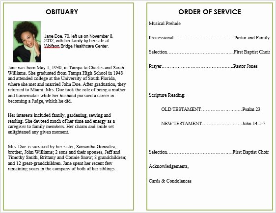 Obituary Template for Microsoft Word Lovely Floral 5 Funeral Pamphlets