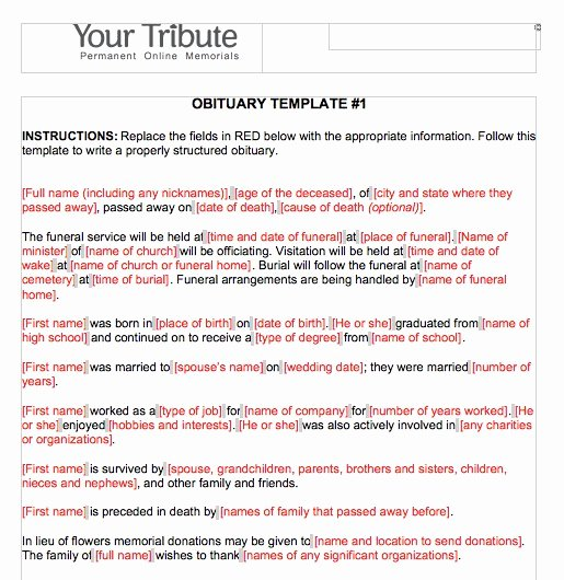 Obituary Template for Microsoft Word Lovely Free Obituary Templates Word Pdf Sample Template Section