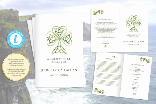 Obituary Template Google Docs Lovely Printable Folding Funeral Program Irish Celtic Knot