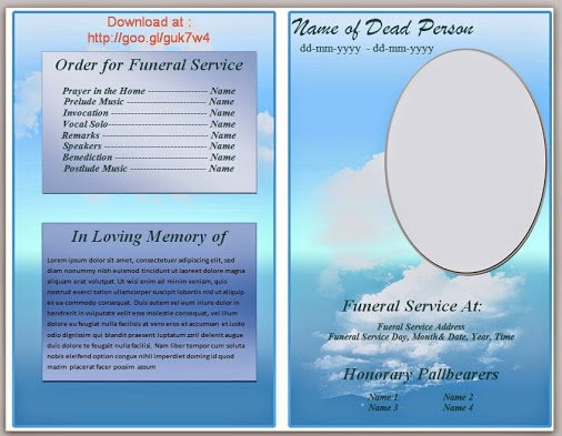 Obituary Template Google Docs Luxury Blue Cloud Funeral Program Template In Microsoft Word 2007