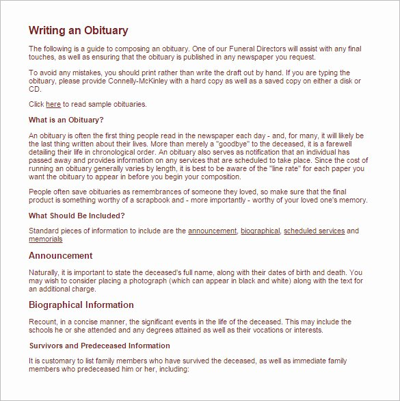 Obituary Template Google Docs Luxury Free Obituary Template