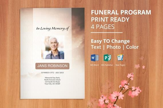 Obituary Template Google Docs Unique Items Similar to Printable Funeral Program Template
