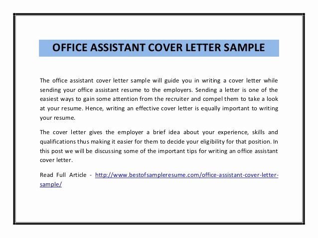Office assistant Cover Letter Sample Best Of Fice assistant Cover Letter Sample