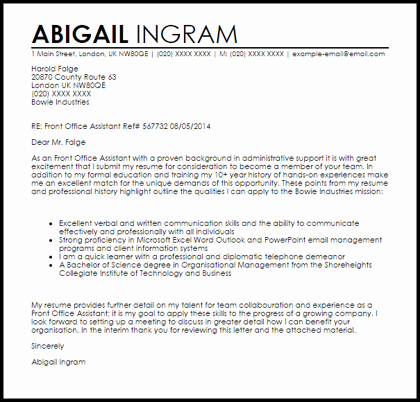 Office assistant Cover Letter Sample Inspirational Front Fice assistant Cover Letter Sample