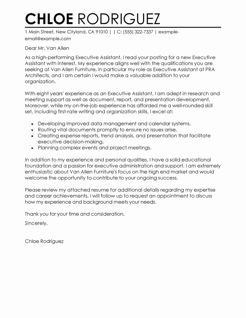 Office assistant Cover Letter Sample Lovely Best Executive assistant Cover Letter Examples