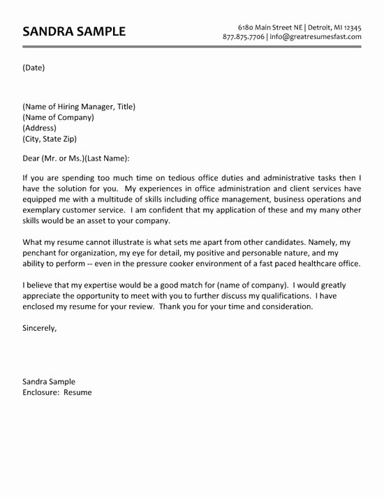 Office assistant Cover Letter Sample New Administrative assistant Cover Letter Example