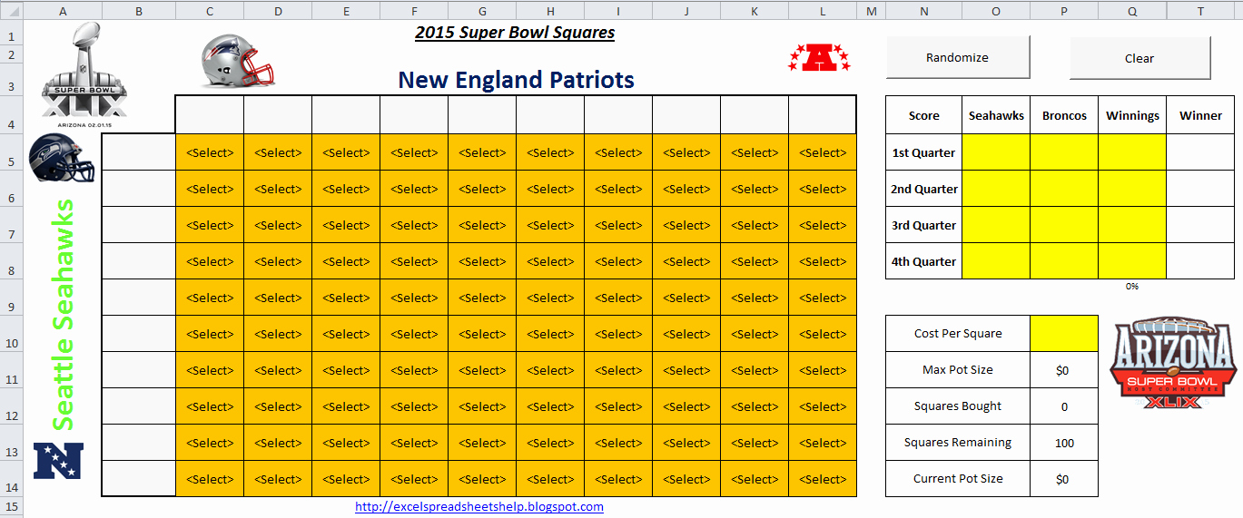 Office Football Pool Template Inspirational Download A Free Printable 2015 Super Bowl Squares