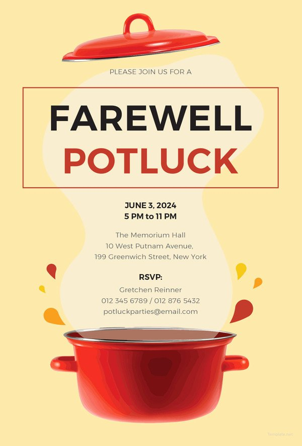 Office Potluck Invitation Wording Samples Beautiful 23 Farewell Invitation Template Free Sample Example