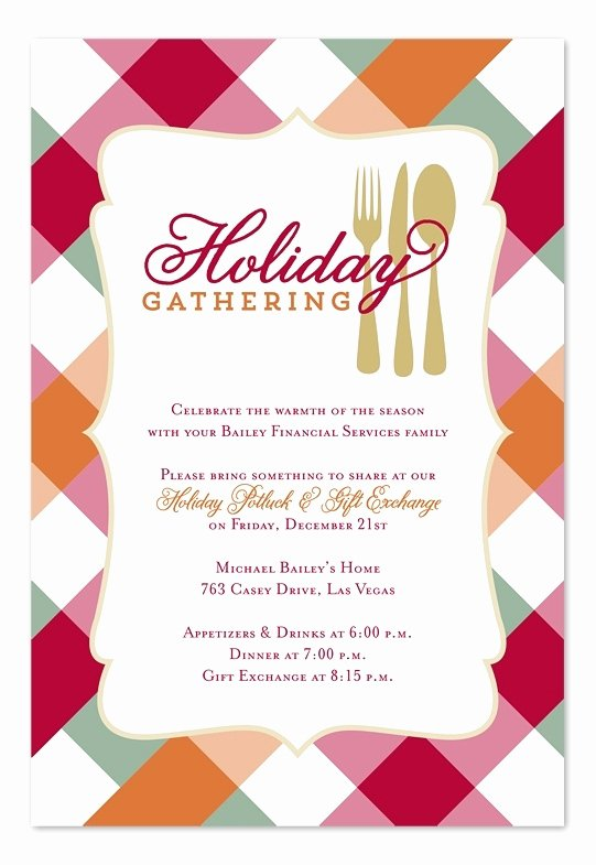Office Potluck Invitation Wording Samples New Holiday Potluck Invitation Cobypic