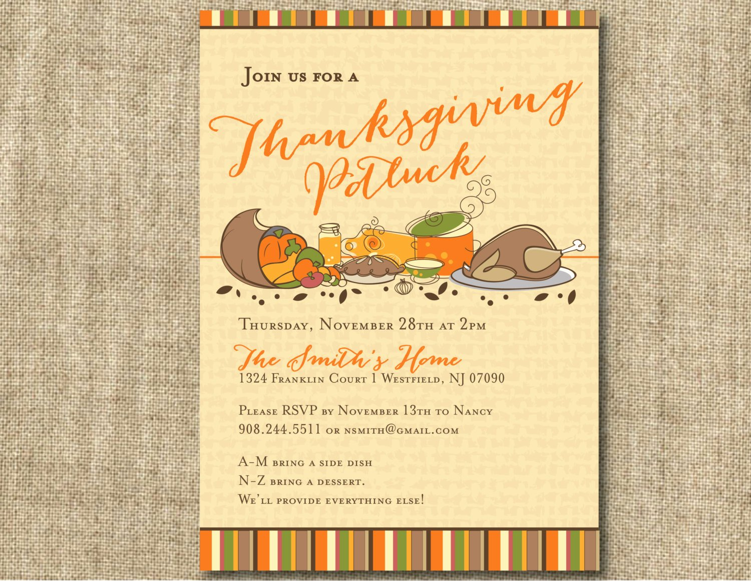 Office Potluck Invitation Wording Samples New Thanksgiving Potluck Invitation