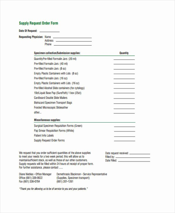 Office Supplies Request form Best Of 10 Supply order Templates Free Sample Example format