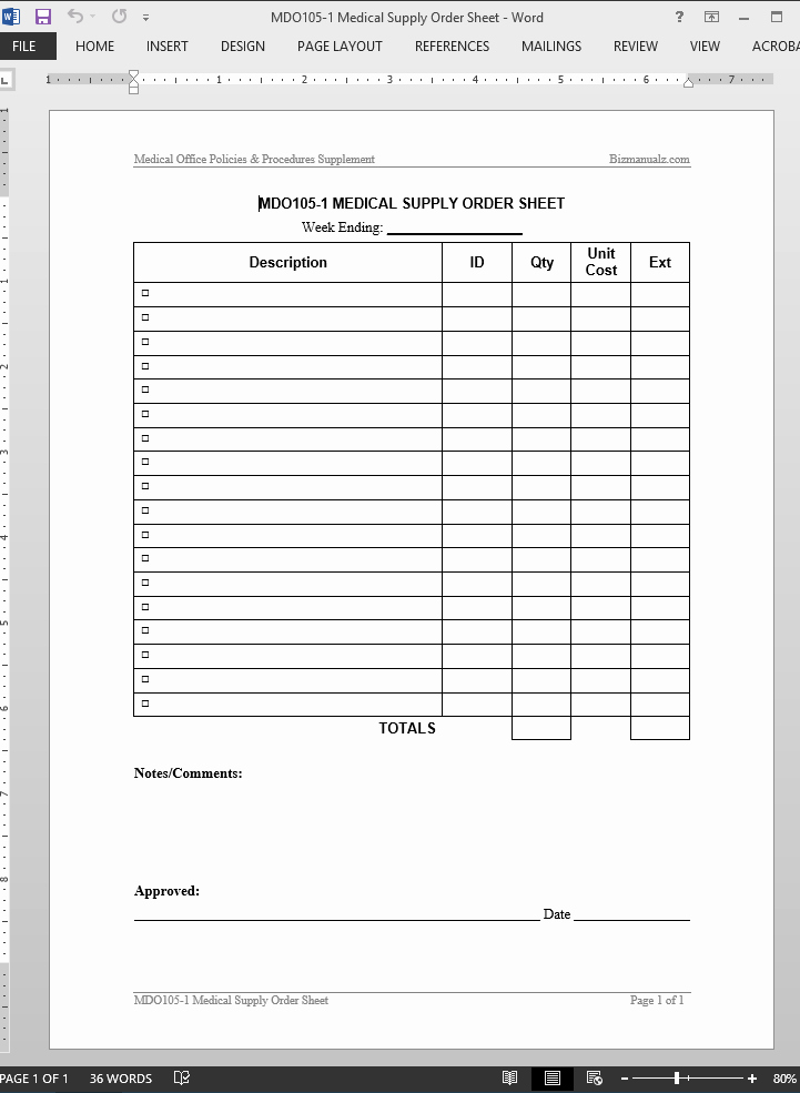 Office Supplies Request form Fresh Medical Supply order Worksheet Template