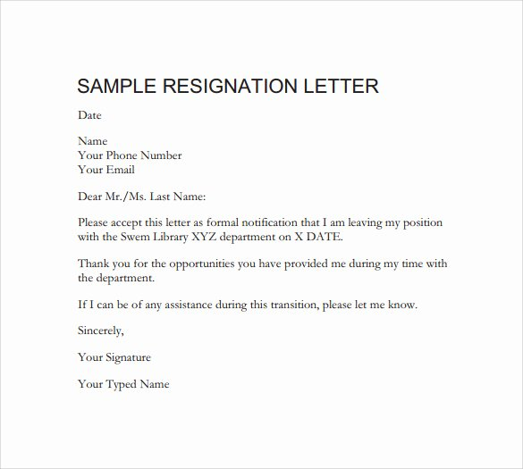Official Letter Of Resignation Elegant Free 40 formal Resignation Letters Templates In Pdf