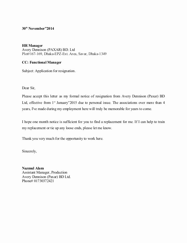 Official Letter Of Resignation Luxury Sample Resignation Letter 1