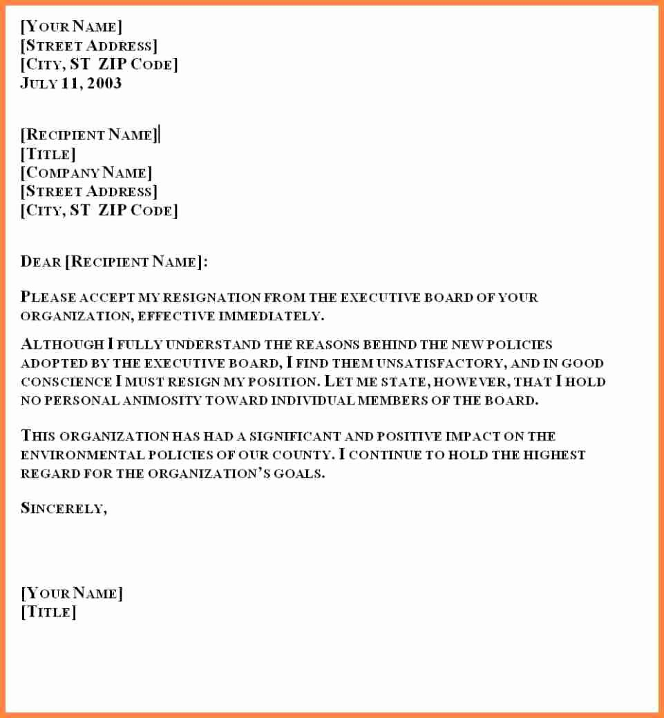 Official Letter Of Resignation New 5 formal Resignation Letter Sample One Month Notice