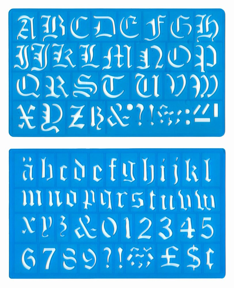 Old English Alphabet Stencils Lovely 30mm Old English Upper Lower Case Alphabet Numbers Stencil