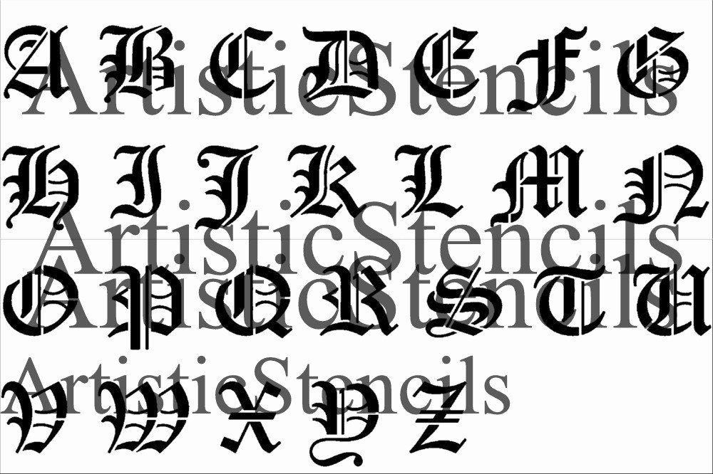 Old English Letter Stencils Inspirational Stencil 3 Inch Old English Alphabet Set Upper and Lower Free