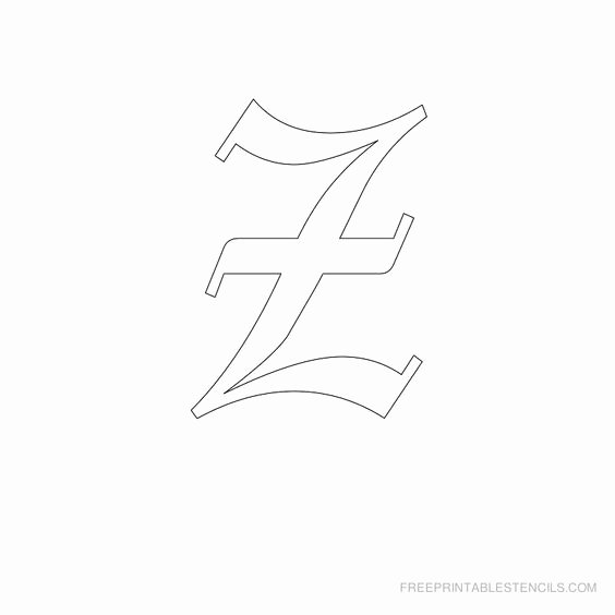 Old English Letter Stencils New Printable Old English Alphabet Stencil Z