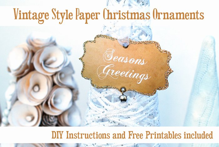 Old Looking Paper Printable Lovely Vintage Style Cream Paper Glittered ornaments Free