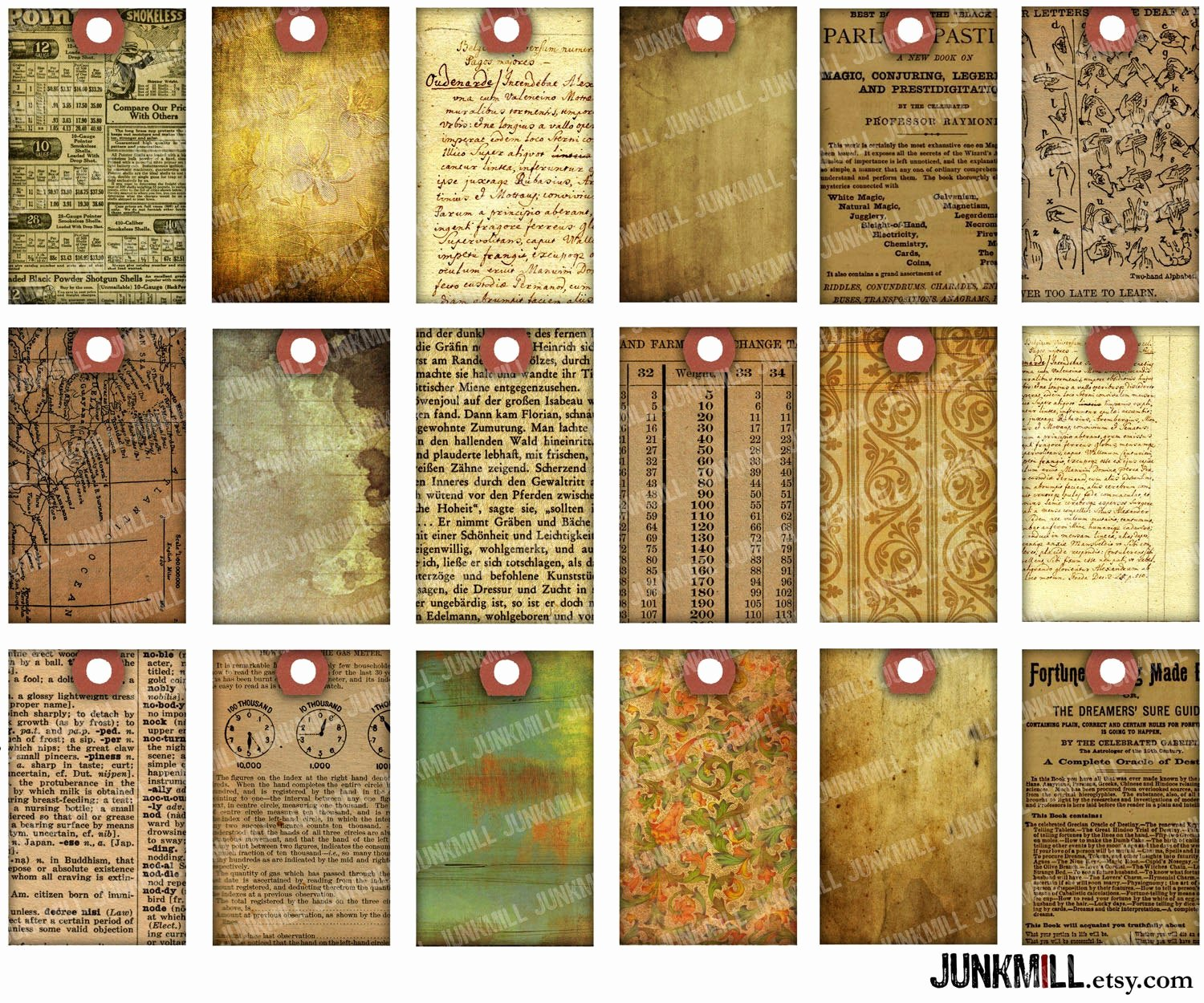 Old Looking Paper Printable Luxury Paper Scrap Tags Digital Printable Collage Sheet Vintage