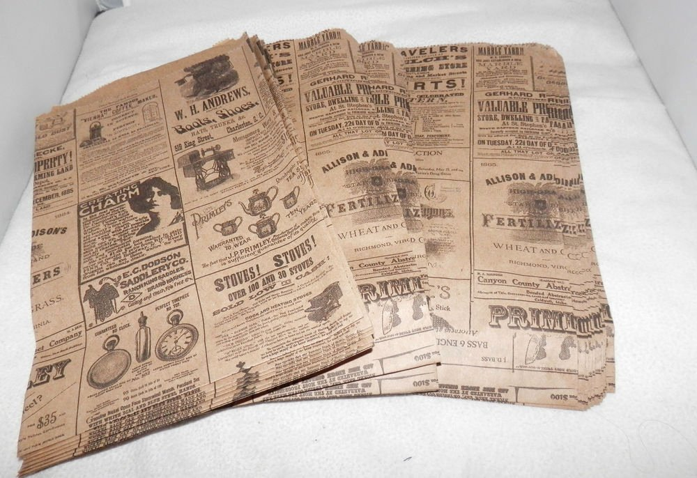 Old Looking Paper Printable New 25 6x9 Newspaper Print Paper Kraft Bags Vintage Style