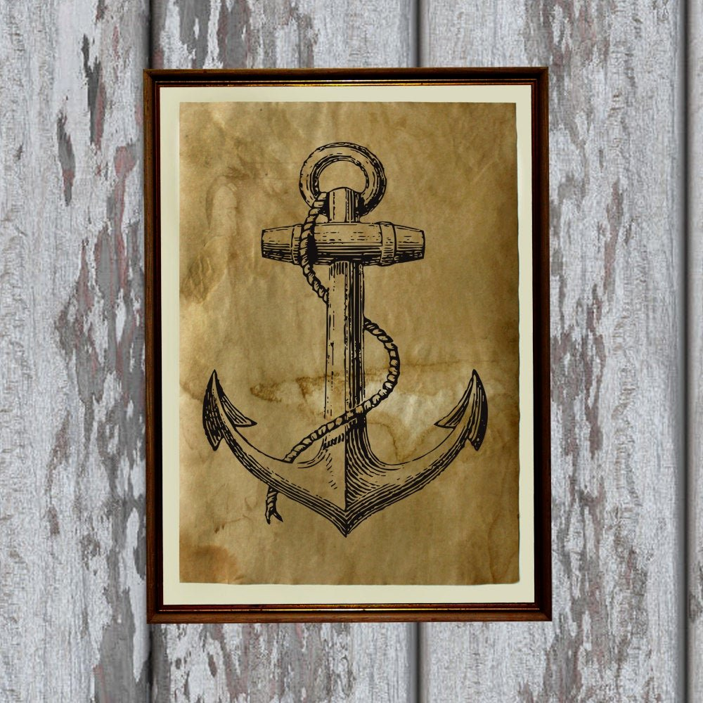 Old Looking Paper Printable New Antique Paper Vintage Anchor Print Old Looking Decoration