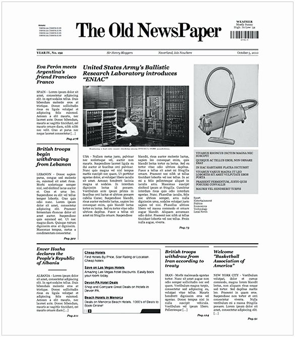 Old Newspaper Template Word Beautiful Old Newspaper Template Word