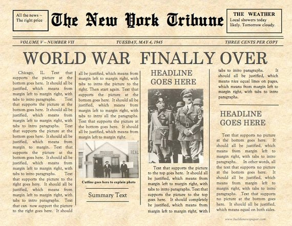 Old Newspaper Template Word Inspirational Vintage Front Page Newspaper Template Instant Download for