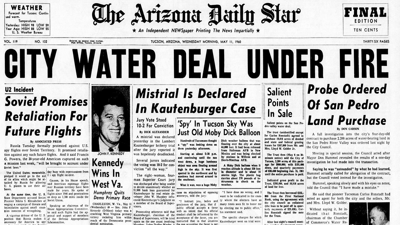 Old Newspapers Front Page Beautiful Arizona Daily Star Front Page May 11 1960
