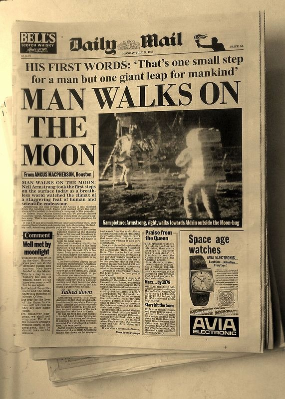 Old Newspapers Front Page Best Of Man Walks On the Moon