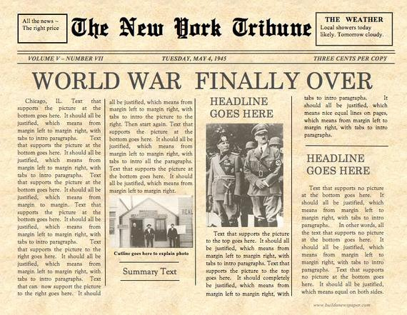 Old Newspapers Front Page Unique Vintage Front Page Newspaper Template Instant Download for