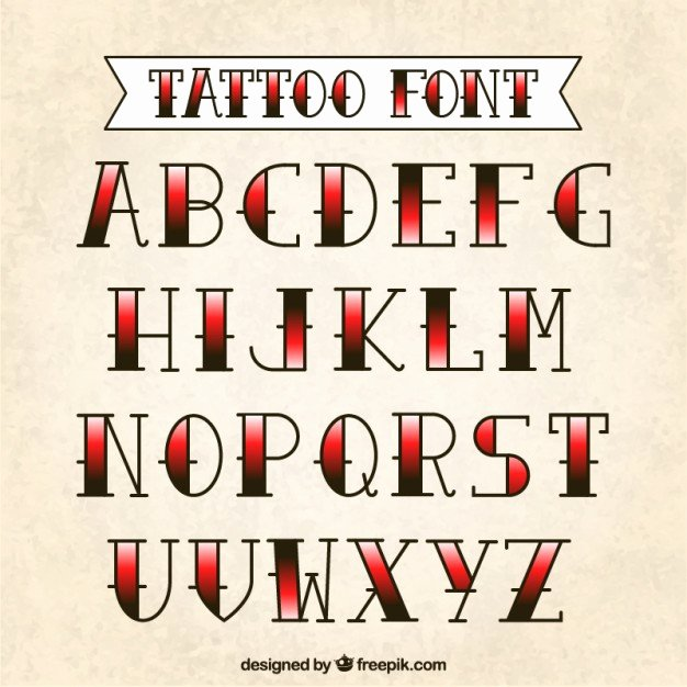 Old School Tattoo Font Awesome Tattoo Typography Vector