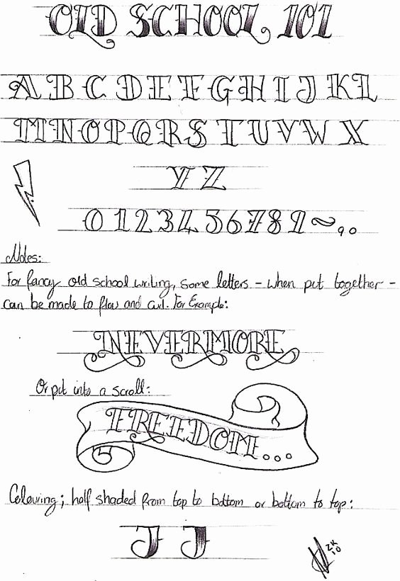 Old School Tattoo Font Fresh Old School Writing 101 by Nevermore Inkviantart On