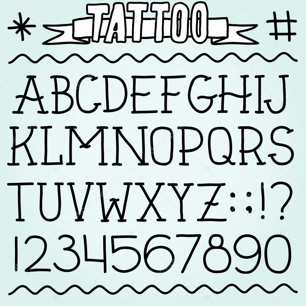 Old School Tattoo Font Lovely Old School Tattoo Font — Stock Vector © Dmitriylo