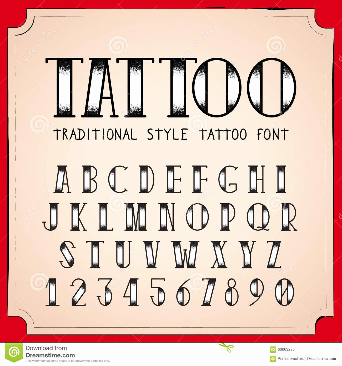 Old School Tattoo Font New Alphabet Tattoo Vector Font Vector Illustration