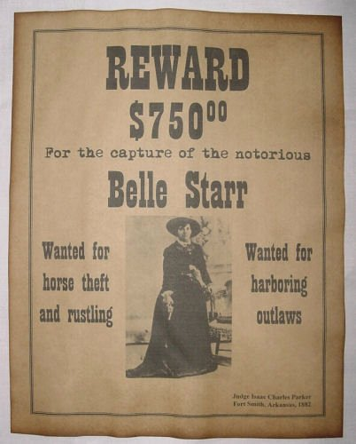 Old West Wanted Sign Elegant Belle Starr Wanted Poster Western Outlaw Old West for Sale