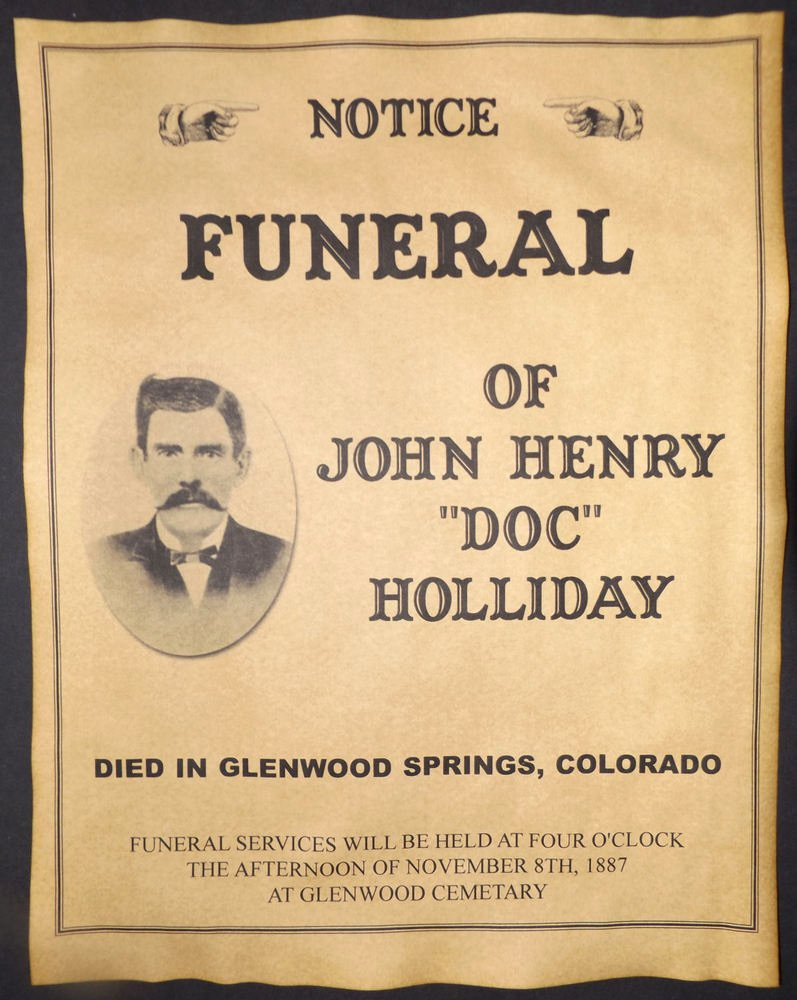 Old West Wanted Sign Elegant Doc Holliday Funeral Announcement Poster Old West
