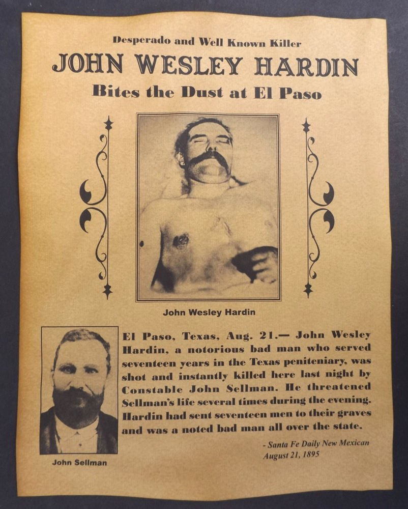 Old West Wanted Sign Elegant John Wesley Hardin Death Notice Poster Western Outlaw