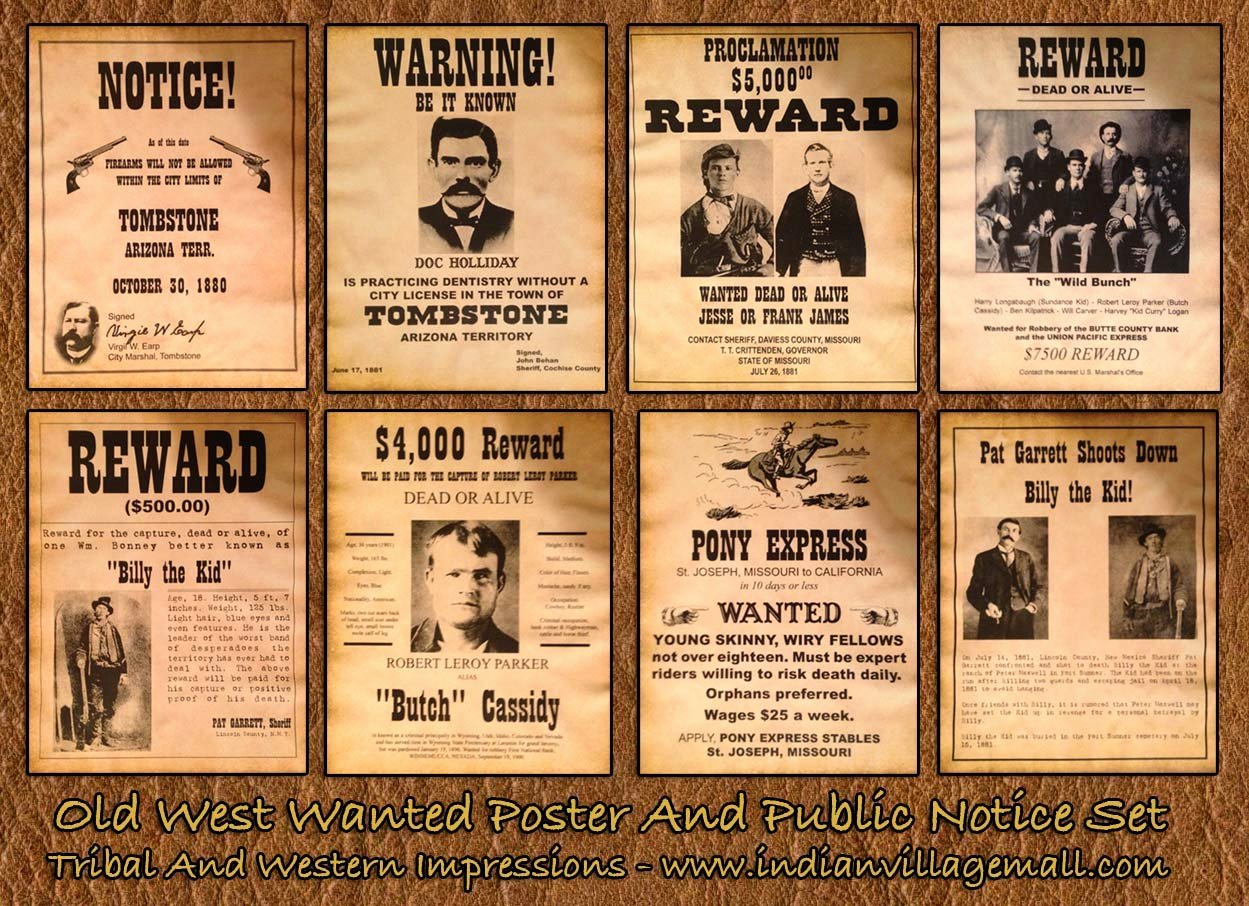 Old West Wanted Sign Elegant Museum Quality Old West Antiqued Wanted and Public Notice