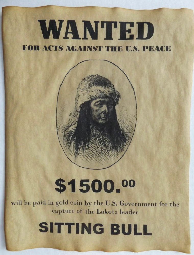 Old West Wanted Sign Fresh Sitting Bull Wanted Poster Western Old West Indian